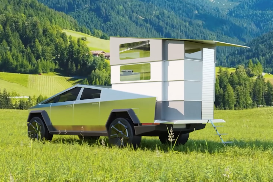 This solar-powered trailer pops-up to embrace multi-purpose living in your Cybertruck!