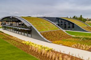 This sustainable office building uses passive energy practices and promotes biodiversity with their green roof!
