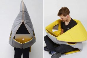 This wearable furniture offers complete privacy in public spaces, and a safe space in crowds!