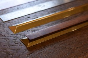 This wood and solid brass ruler elevates stationery to a higher, more functional standard