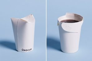 This ergonomic paper cup was designed to reduce plastic waste generated by to-go coffees!