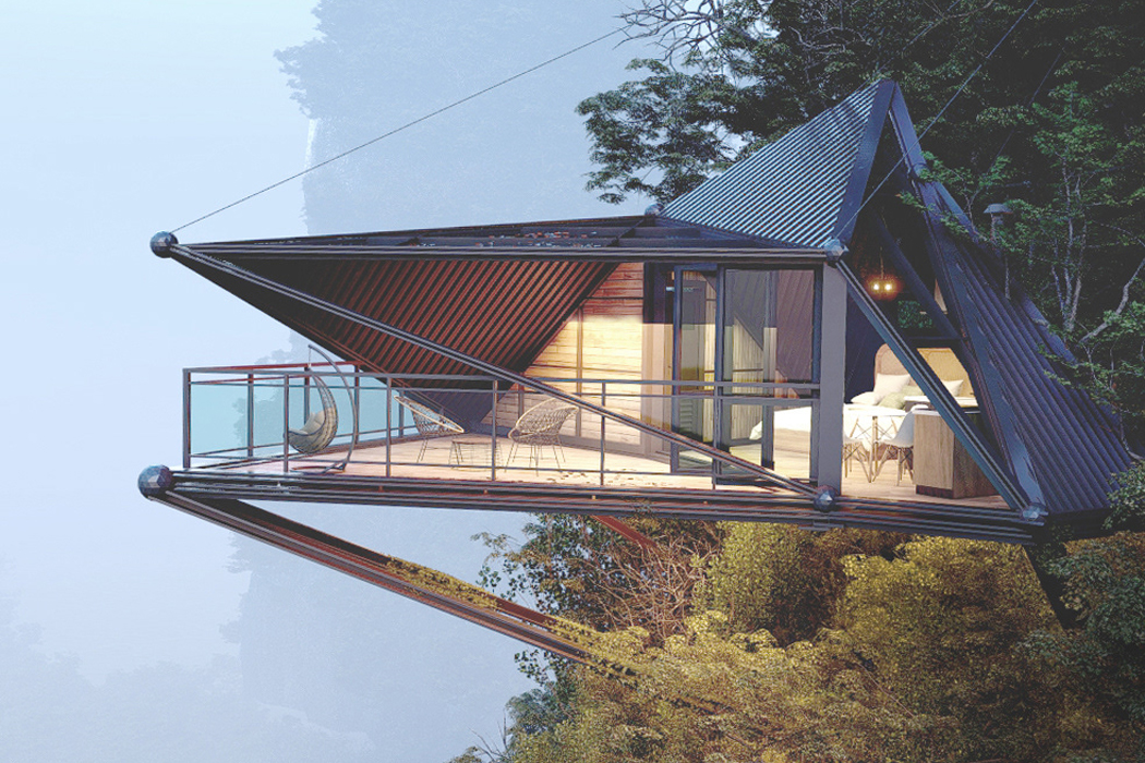 This cliffside cabin is supported by five suspension cables for a daunting jungle retreat!
