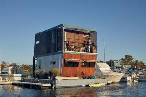 This shipping container has been repurposed into a floating home that adapts to changing sea levels!