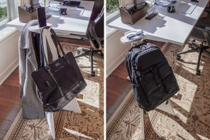 This backpack stand holds your bag in a convenient way that you can easily access, store, and retrieve your items