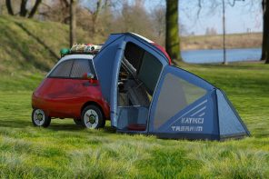 This tiny Microlino camper trailer with a retractable kitchen is for urban adventure seekers!