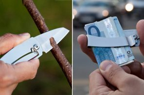 True Utility's single piece stainless steel pocket knife doubles as money clip!