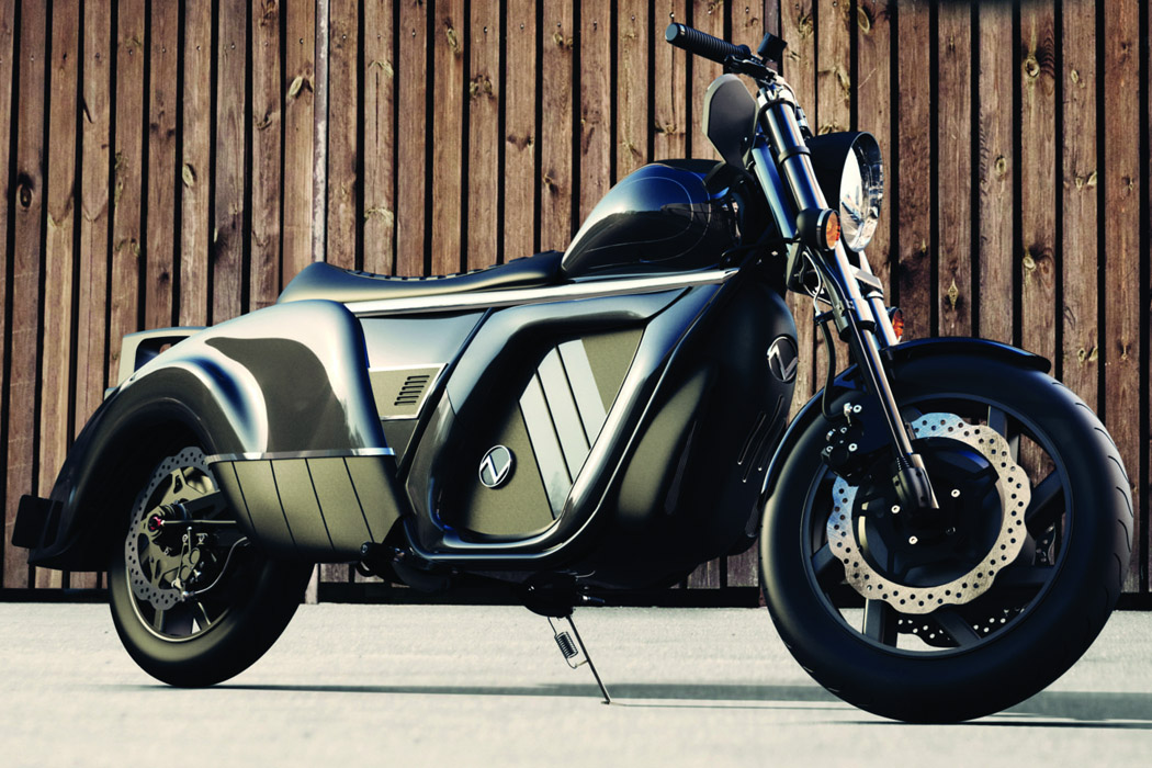 This retro-styled electric cruiser motorbike ranges 300 miles while sporting interesting wheels!