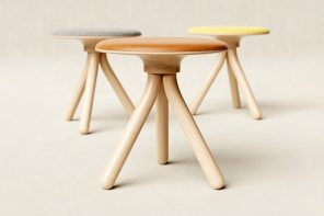 This stool's minimal design challenges how wood is used as a material