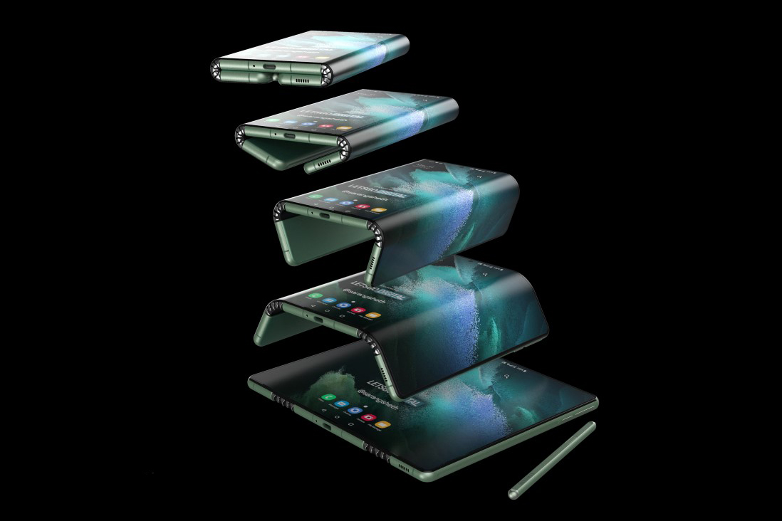 Radical Samsung Galaxy Z Fold Tab patent shows a two-part folding screen + magnetic S-Pen docking area