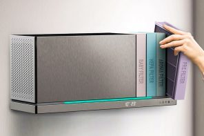 This sleek bookshelf-inspired air purifier finds an ingenious solution to our filter replacement problems!