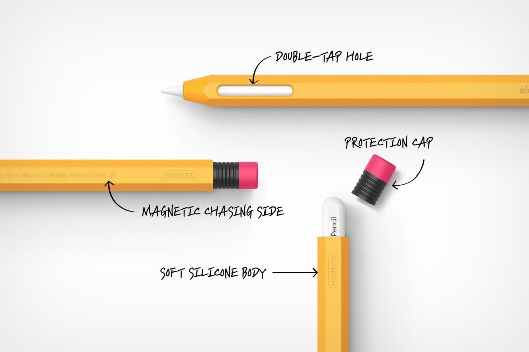 elago s apple pencil protective case turns your stylus into a nostalgic rubber tip graphite pencil yanko design