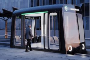 Self-driving monorail pods create a city-wide public transit network by utilizing space between roads