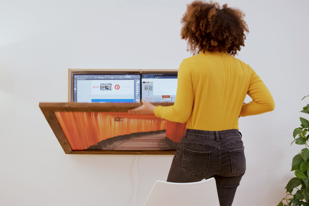 The world's first sustainable fully-integrated, plug-and-play, wall-mounted workstation and folding desk!