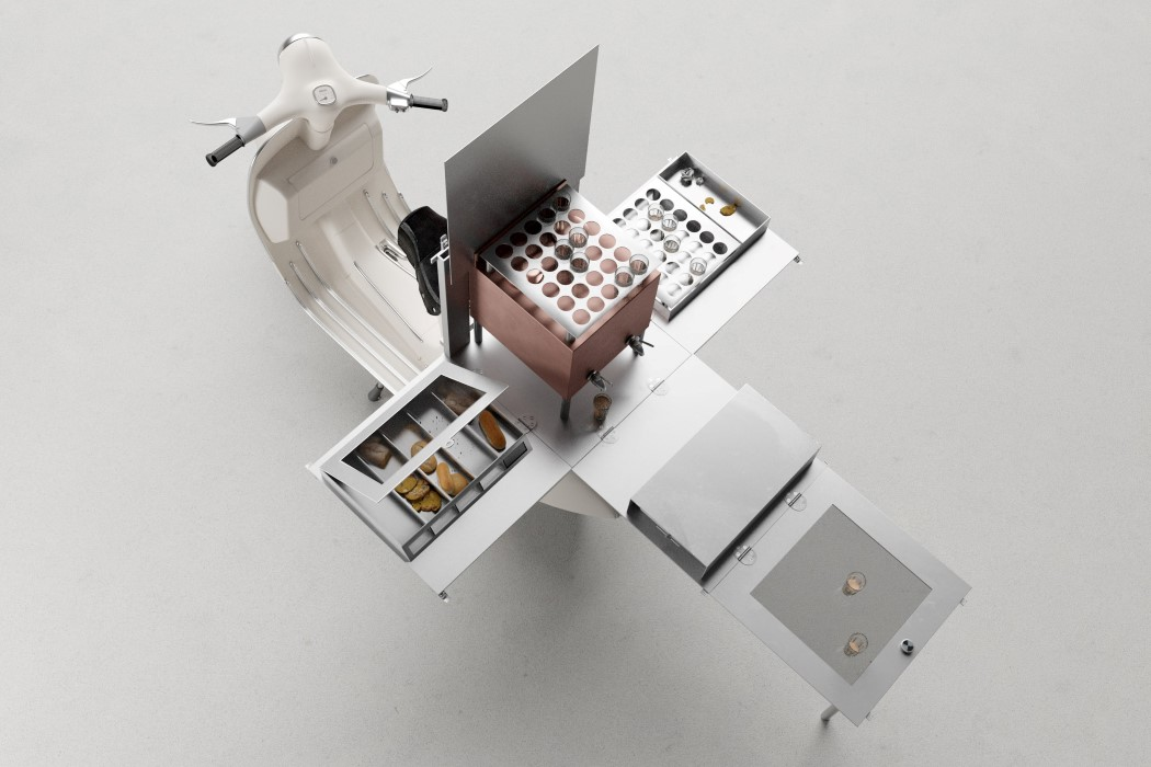 This tiny tea café fits in a 1.5 sq. ft. fold-out box on the back of a Vespa