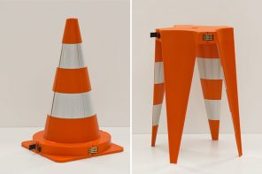 This traffic cone uses a one-of-a-kind transformation to become a stackable stool. Watch the video!