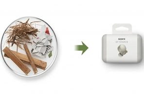 Sony debuts original sustainable packaging as part of its initiative to achieve a zero environmental footprint by 2050!
