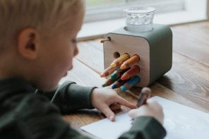 This intuitive wooden pen holder solves cleanup woes on messy art days and is designed to last a lifetime!