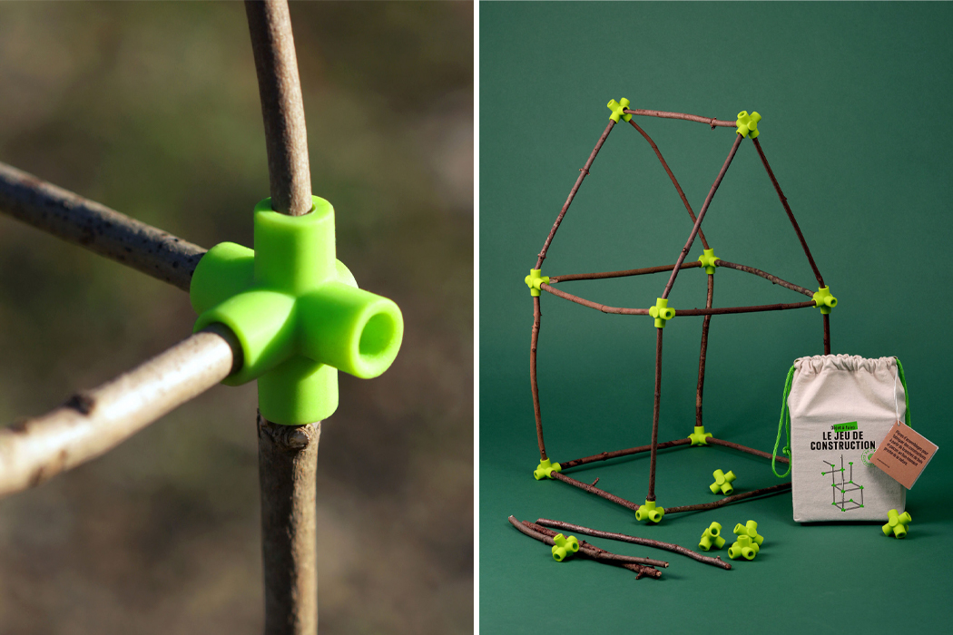 This unique joinery toy lets kid connect with nature and utilize their creativity to build engaging structures!