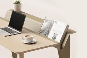 This minimal desk's special design element is inspired by pianos!