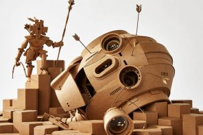 These sci-fi-inspired detailed sculptures with LED lights + moveable parts are made from cardboard!