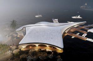 Luxury Yacht Club shaped like a manta ray poises gracefully above the ocean