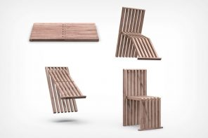The 'Pad' transforms from a simple flat wooden slab to a complete folding chair!