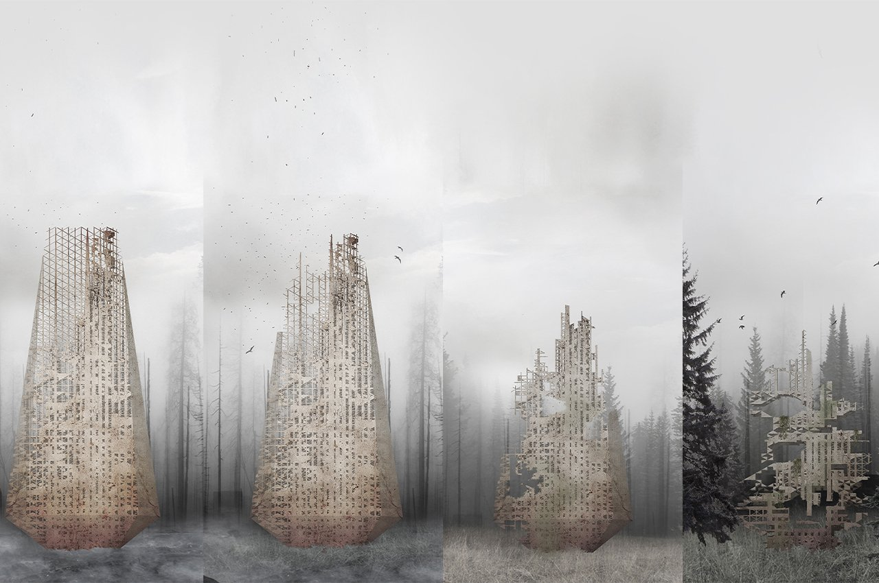 This skyscraper dissolves to distribute soil and seeds which will help revive burned forests!