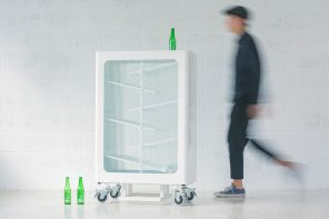 This glass recycling bin is an interactive, aesthetic & educational design that promotes sustainable living!