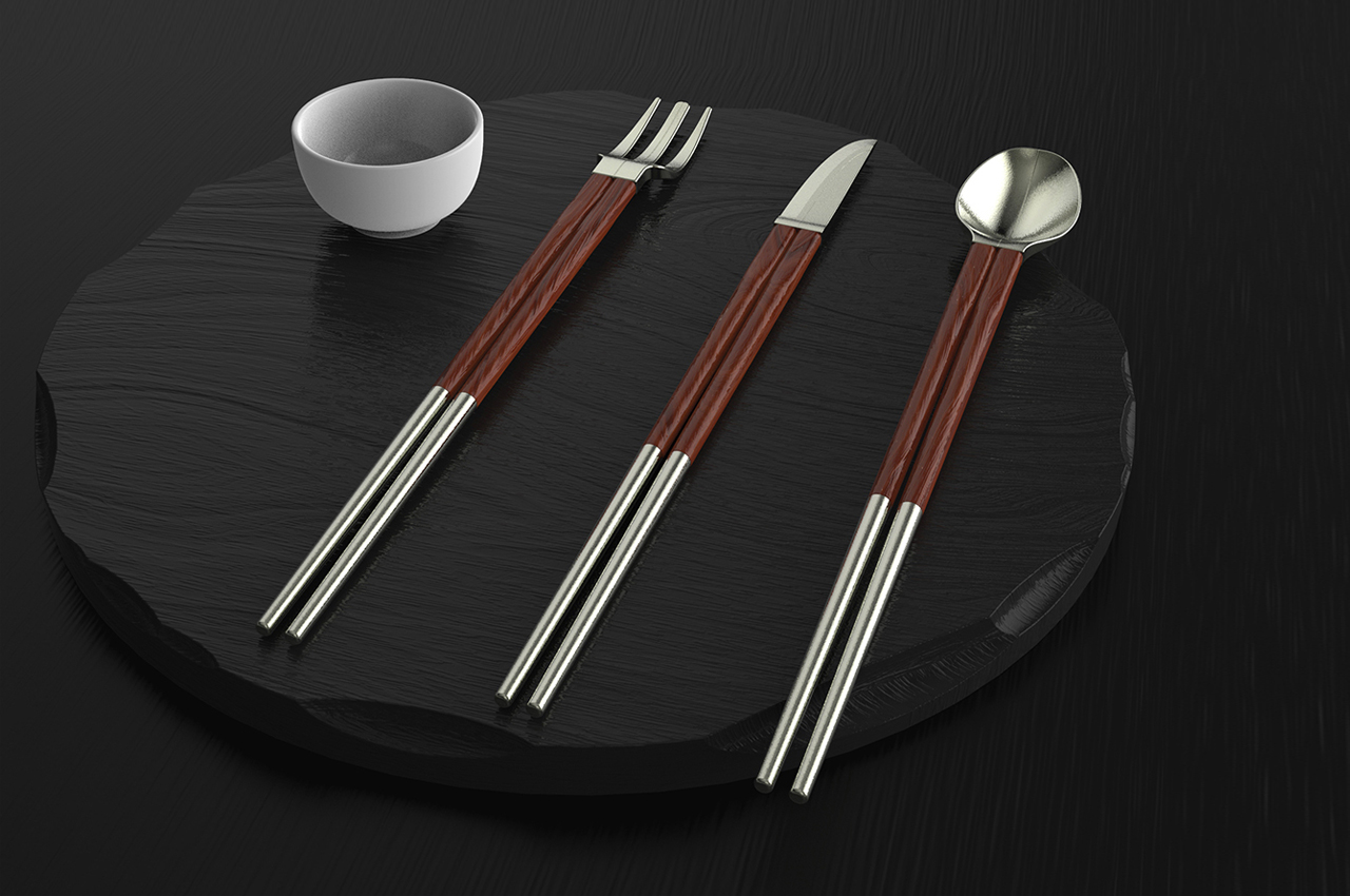 These multifunctional magnetic cutlery-pieces snap into half to transform into chopsticks!