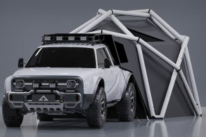 A HEIMPLANET geodesic tent comes integrated in this 4WD electric truck to keep you adventure ready!