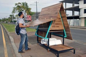 This tiny convertible A-frame structure is a part kiosk + part shelter designed to aid Ecuador's unhoused population