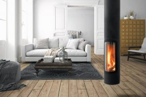 This sleek cylindrical fireplace suspends from the ceiling, giving your interiors a modern upgrade