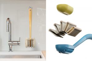 This sustainable dish cleaning brush is infinitely reusable thanks to its replaceable bamboo bristles!