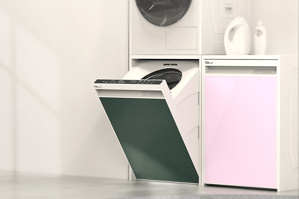 This washing machine tilts open so no need to bend and makes doing laundry super easy!