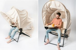 This personal workstation retracts and unfolds with ease while working from outside!