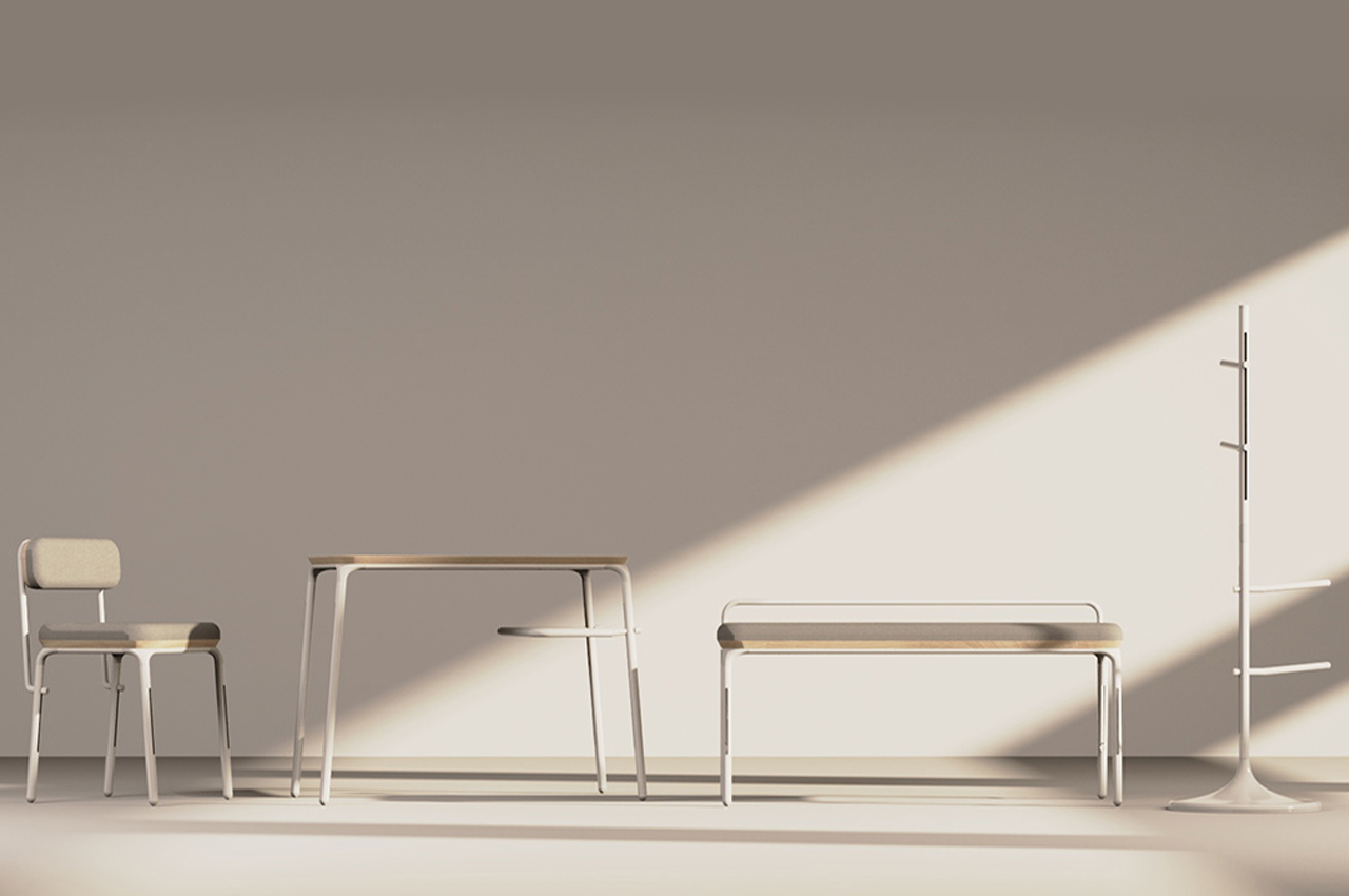 This modular furniture series reuses same construction pieces to adapt to your tiny living space!