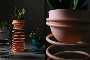 This slinky planter is a throwback to the iconic 1940's toy and we need them!