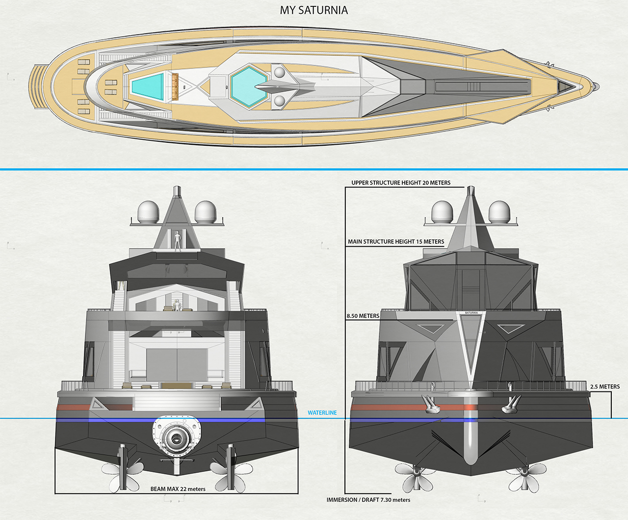 This futuristic superyacht doubles up as a floating seaport for other boats & costs $300 million!