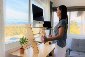 This ergonomic flatpack laptop stand transforming your setup into a standing desk is a 2021 must-have!