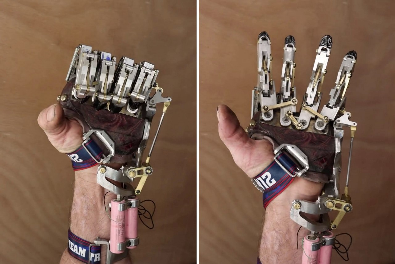 Engineer designed and built his own functioning mechanical prosthetic hand and it looks like a steampunk beauty!