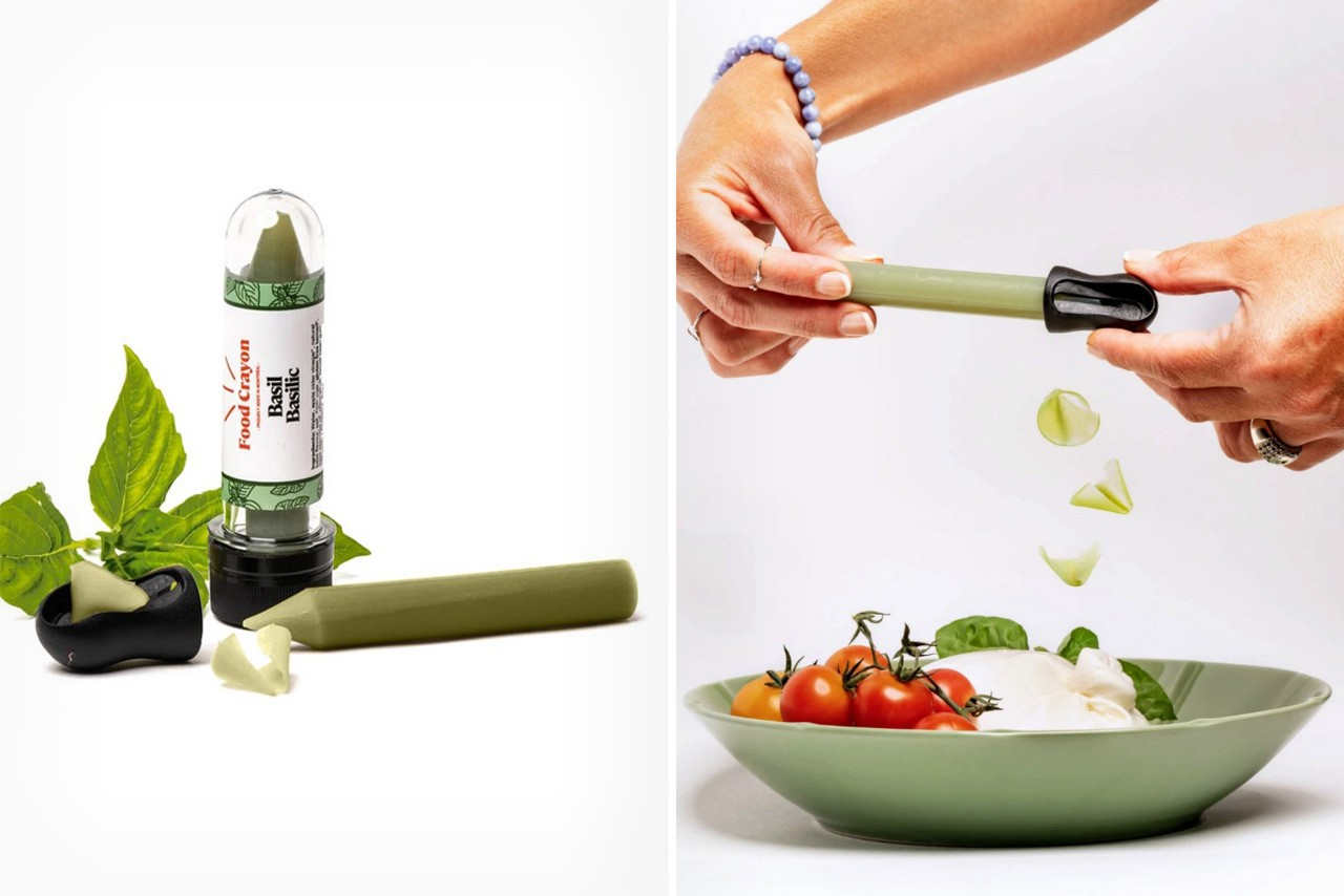 """""""Food Crayon"""" lets you playfully garnish your dishes with ingredient-flavored shavings! Move over, SaltBae!"""