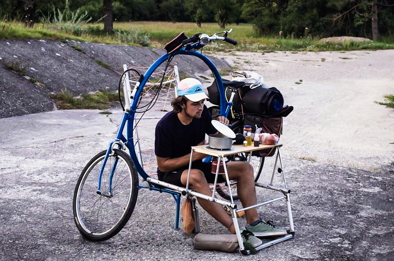 This ingenious bike holds a fold out chair + day bed to be your home on wheels for outdoor adventures!