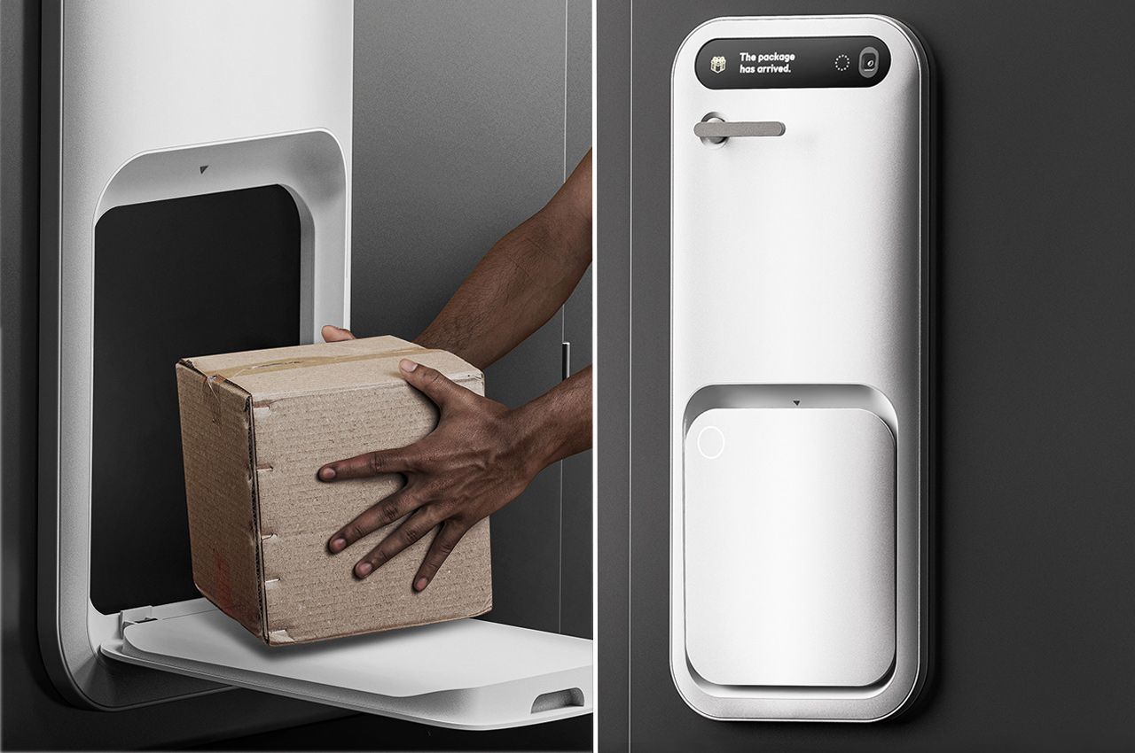 This smart delivery box sits on your door and is an innovative design to keep porch pirates away!