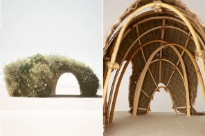 This tiny living home made from wheatgrass, jute, and felt brings nature into our brutal cityscape