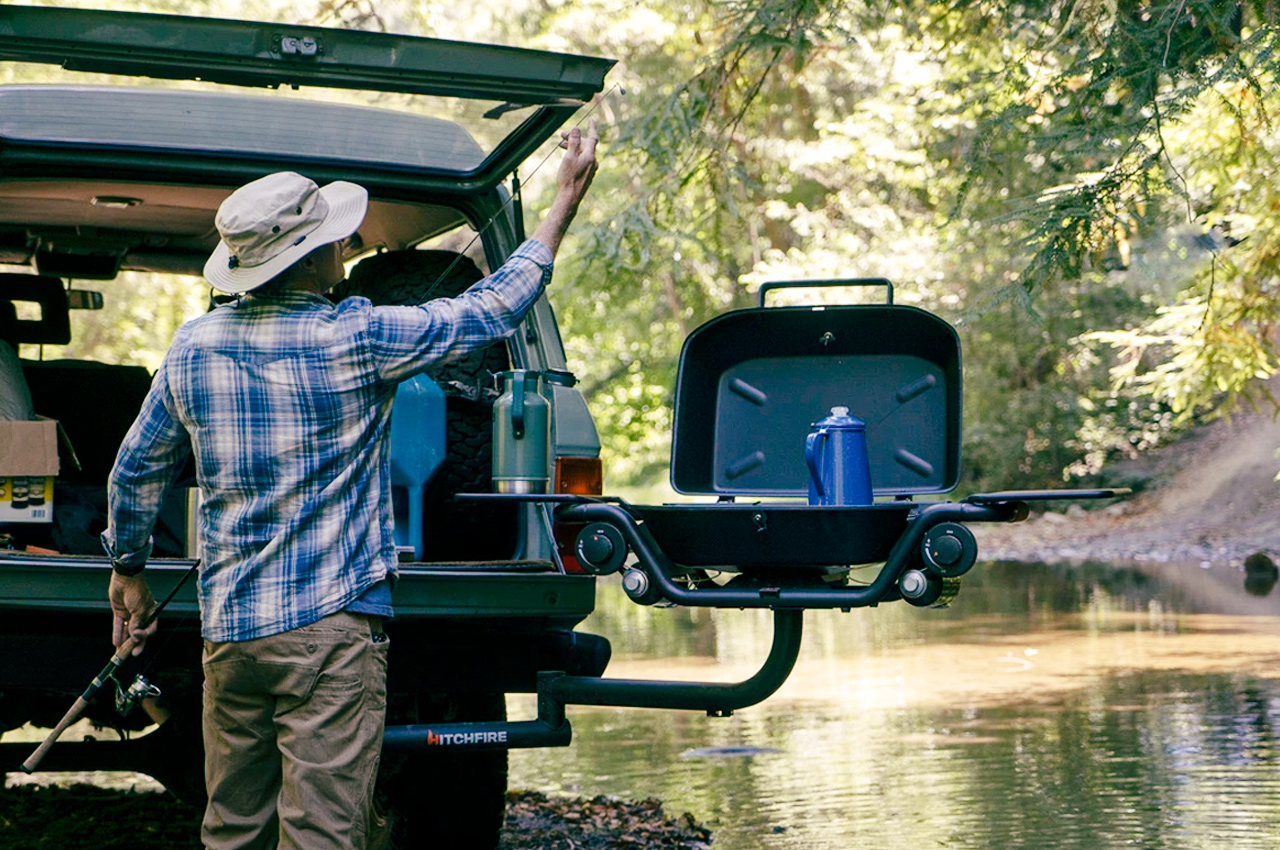 This swiveling, hitch-mounted grill makes setting up and cooking outdoor the easiest camping job ever!