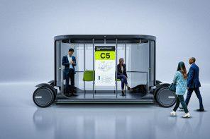 This autonomous shuttle bus reimagines last-mile commute with informative graphics and a minimal, transparent design