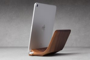 This handcrafted iPad Pro Stand carved from a single piece of wood comes with a magnetic Apple Pencil holder!