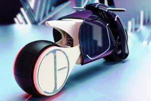 This e-bike's humongous rear wheel gives it a self balancing, Tron-inspired vibe!