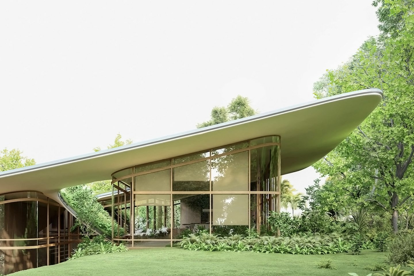 This architectural design features a majestic green roof that follows your landscape!