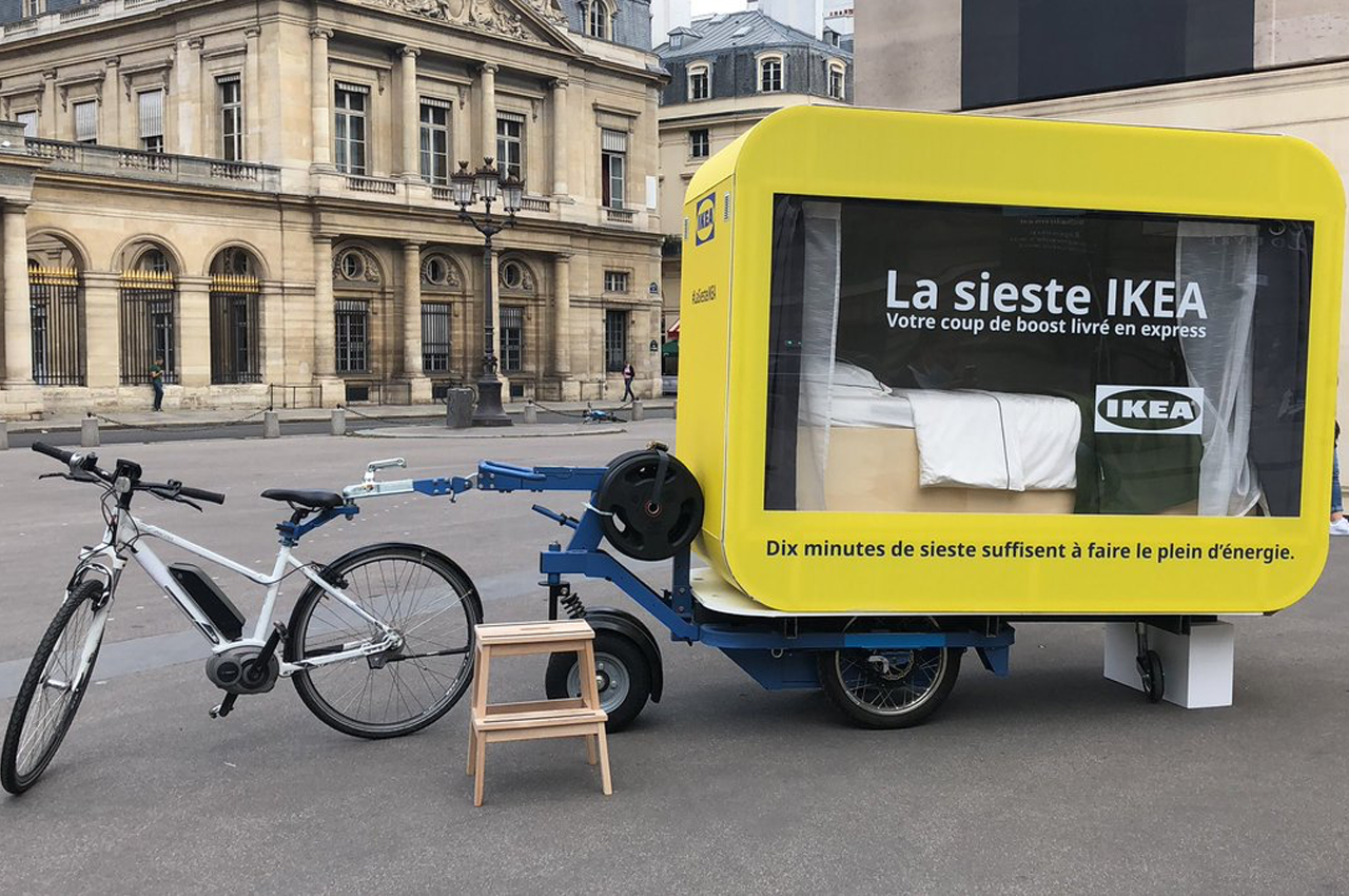 IKEA's latest Paris project is a fleet of bike-driven sleeping capsules for people to nap in!